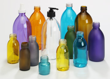 coloured glass toiletry bottles